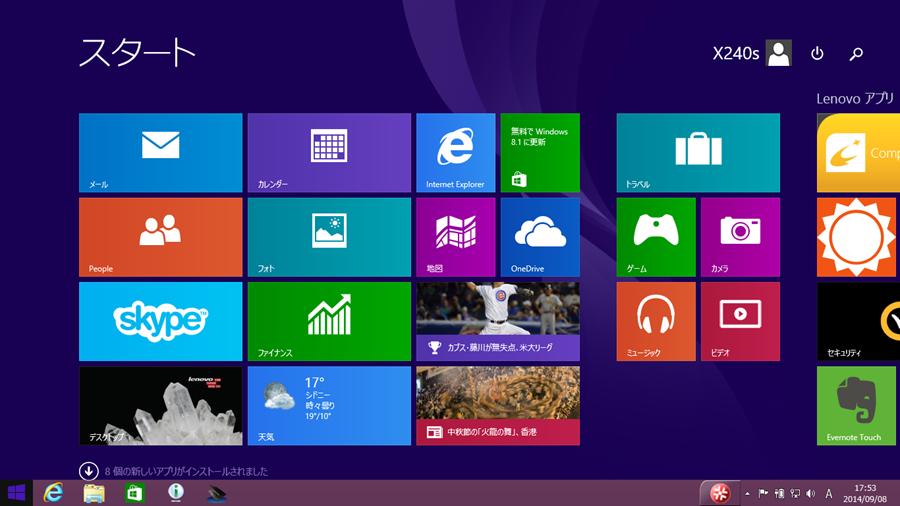 Windows 8.1 のスタート画面