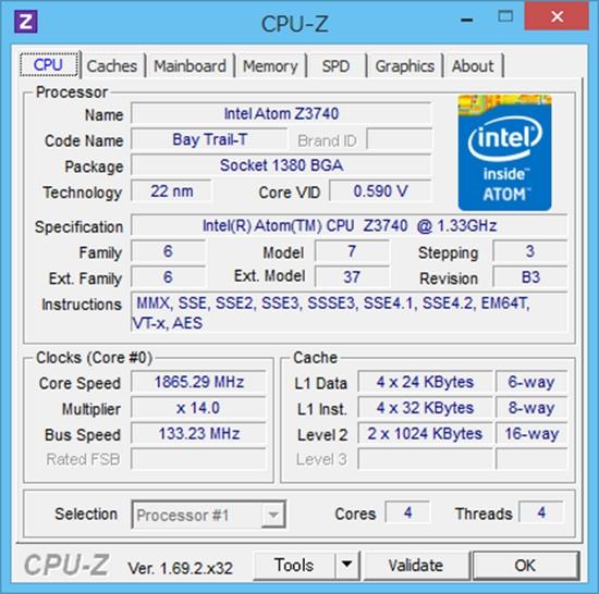miix 2 8 128GBモデル CPU-Z 結果1